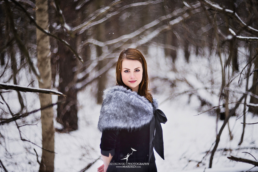 Alina levi winter engagement session clarkston mi park woods snow black classy gown photography11 Alina and Levis Winter Engagement Session in Clarkston, MI