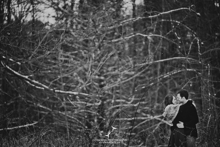 Alina levi winter engagement session clarkston mi park woods snow black classy gown photography14 Alina and Levis Winter Engagement Session in Clarkston, MI