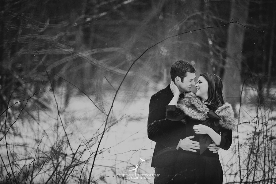 Alina levi winter engagement session clarkston mi park woods snow black classy gown photography15 Alina and Levis Winter Engagement Session in Clarkston, MI