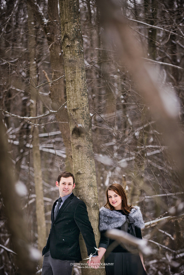 Alina levi winter engagement session clarkston mi park woods snow black classy gown photography16 Alina and Levis Winter Engagement Session in Clarkston, MI