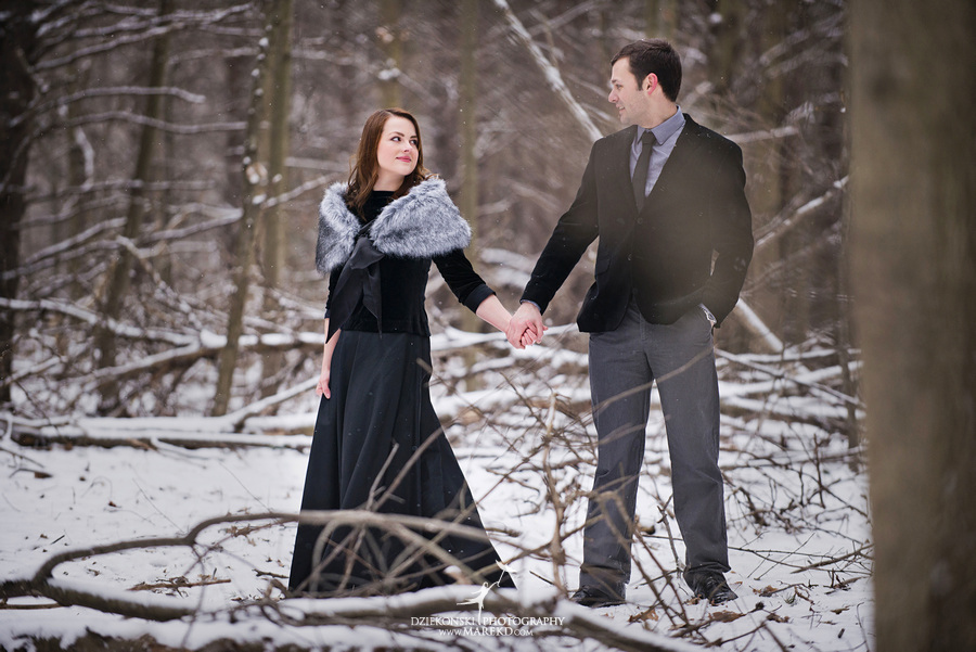 Alina levi winter engagement session clarkston mi park woods snow black classy gown photography17 Alina and Levis Winter Engagement Session in Clarkston, MI