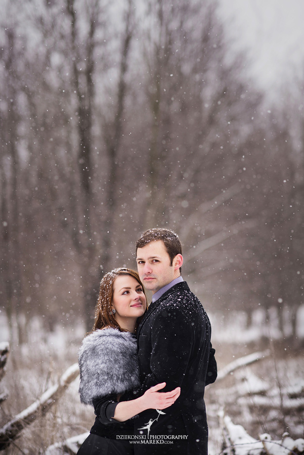 Alina levi winter engagement session clarkston mi park woods snow black classy gown photography19 Alina and Levis Winter Engagement Session in Clarkston, MI