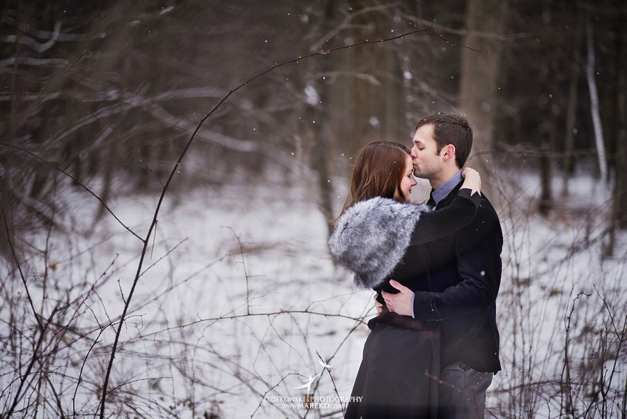 Alina levi winter engagement session clarkston mi park woods snow black classy gown photography20 Alina and Levis Winter Engagement Session in Clarkston, MI