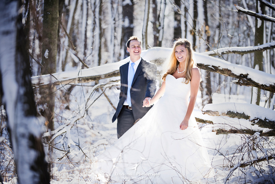 winter wedding red rock the dress clarkston forest snow cold photoshoot photography marek03 Lindsey and Nicks Winter Rock the Dress in a Snowy Forest | Clarkston MI