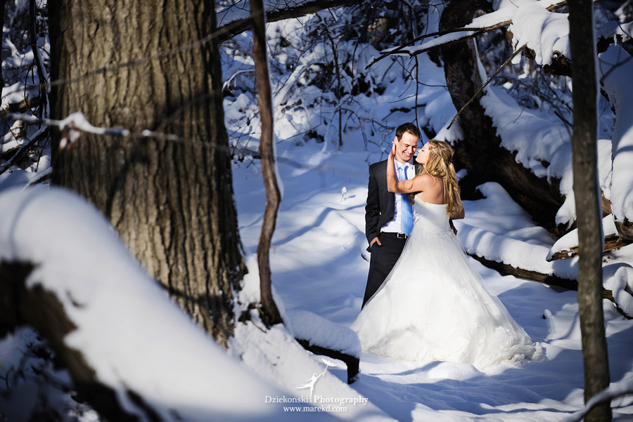 winter wedding red rock the dress clarkston forest snow cold photoshoot photography marek06 Lindsey and Nicks Winter Rock the Dress in a Snowy Forest | Clarkston MI