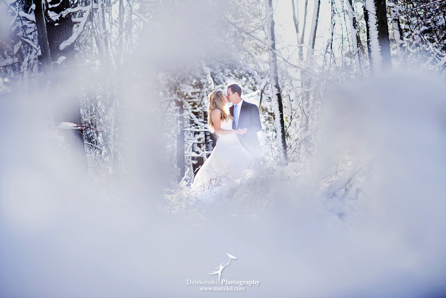 winter wedding red rock the dress clarkston forest snow cold photoshoot photography marek09 Lindsey and Nicks Winter Rock the Dress in a Snowy Forest | Clarkston MI