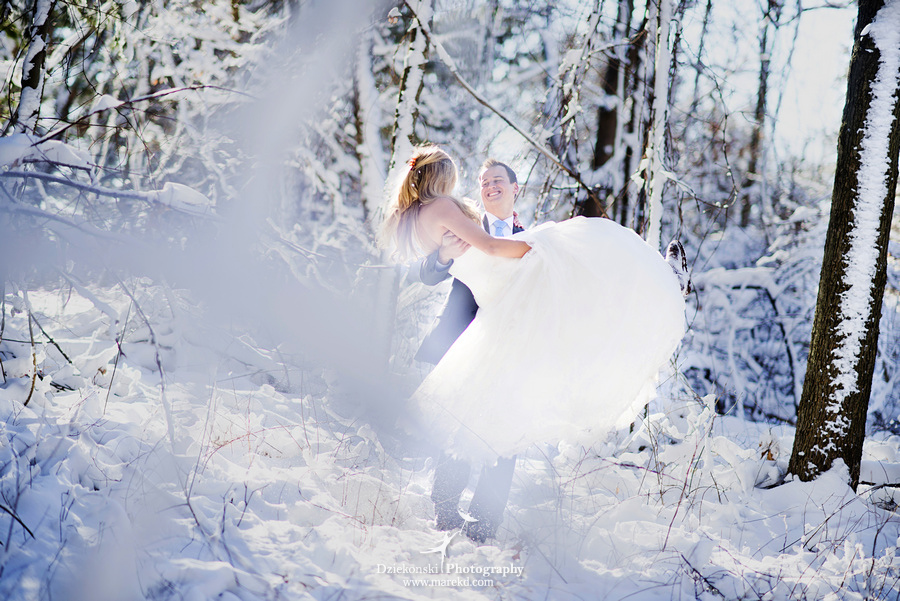 winter wedding red rock the dress clarkston forest snow cold photoshoot photography marek10 Lindsey and Nicks Winter Rock the Dress in a Snowy Forest | Clarkston MI