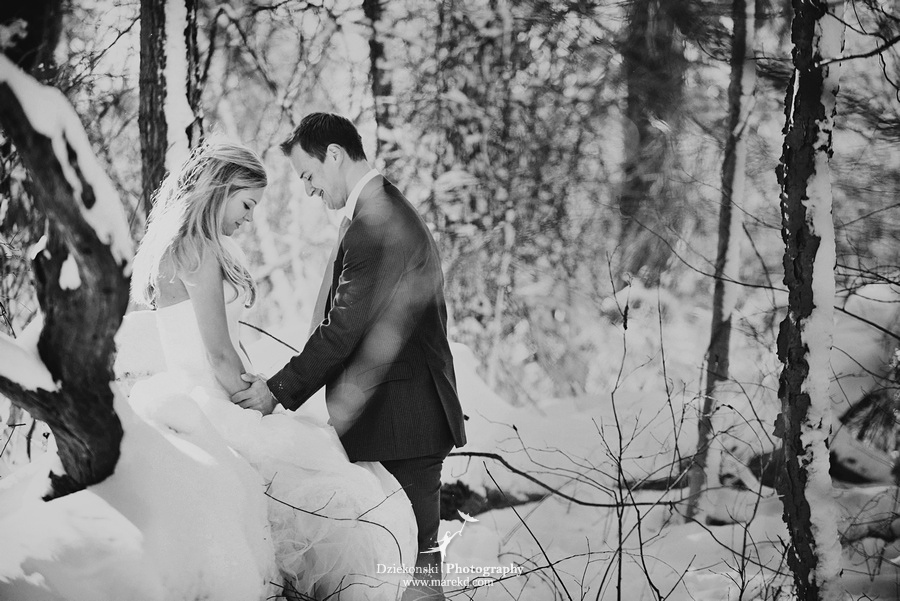 winter wedding red rock the dress clarkston forest snow cold photoshoot photography marek12 Lindsey and Nicks Winter Rock the Dress in a Snowy Forest | Clarkston MI
