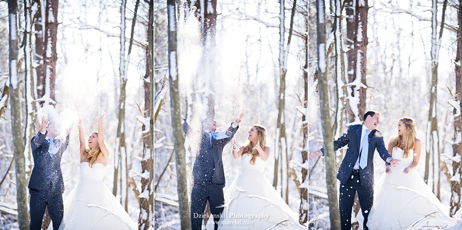 winter wedding red rock the dress clarkston forest snow cold photoshoot photography marek13 Lindsey and Nicks Winter Rock the Dress in a Snowy Forest | Clarkston MI