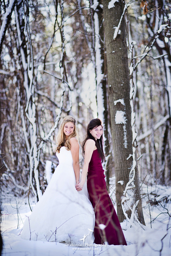 winter wedding red rock the dress clarkston forest snow cold photoshoot photography marek15 Lindsey and Nicks Winter Rock the Dress in a Snowy Forest | Clarkston MI
