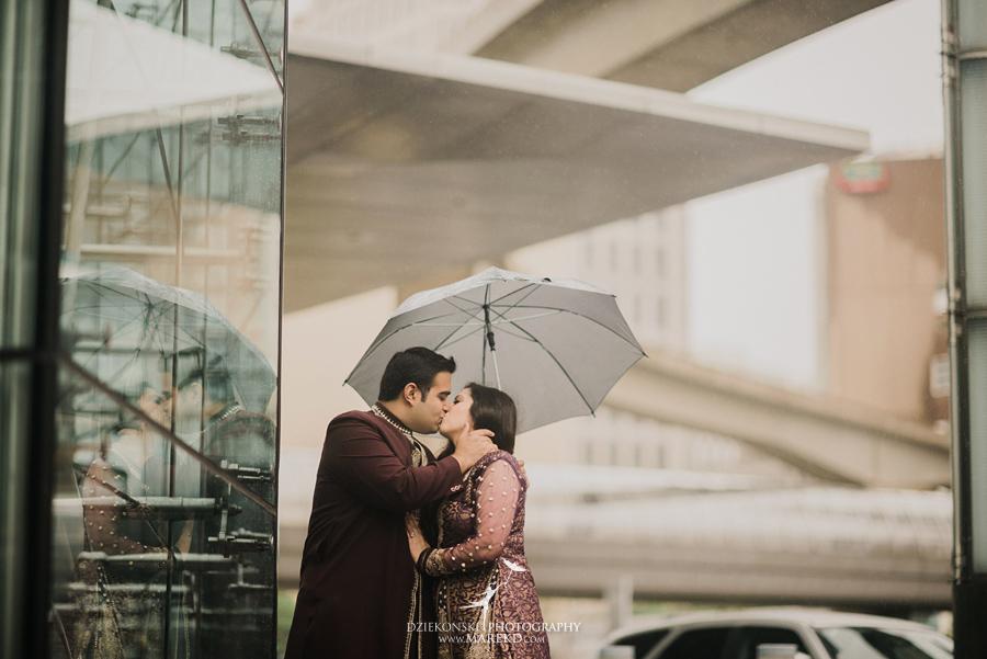 Sarah-Jay-Engagement-pictures-metro-detroit-downtown-photographer-rain-umbrella-rennaisance-center-river-walk-indian-traditional-outfit02