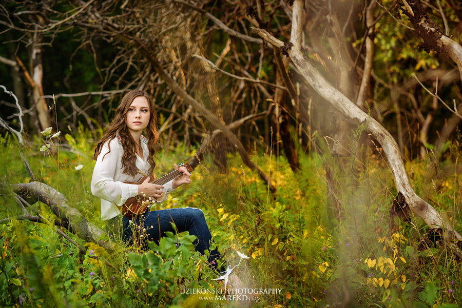 grace stewart senior pictures clarkston michigan photographer nature summer woods lake bonjo guitar01 - Grace