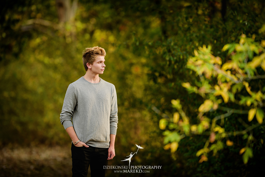 twins triplets senior photos photographer ideas everest michigan clarkston fall nature lake06 - Triplets Senior Session at Independence Oaks Park in Clarkston, Michigan - Conner, Nicholas and Ethan