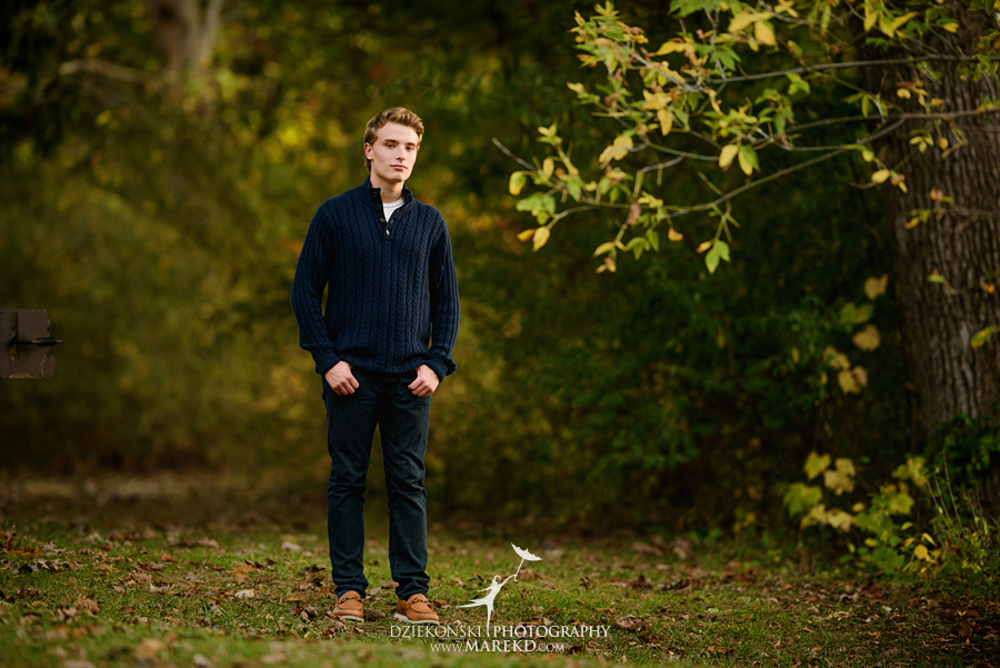 twins triplets senior photos photographer ideas everest michigan clarkston fall nature lake07 - Triplets Senior Session at Independence Oaks Park in Clarkston, Michigan - Conner, Nicholas and Ethan