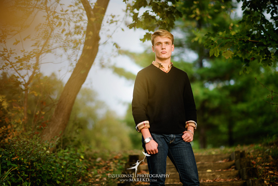 twins triplets senior photos photographer ideas everest michigan clarkston fall nature lake09 - Triplets Senior Session at Independence Oaks Park in Clarkston, Michigan - Conner, Nicholas and Ethan
