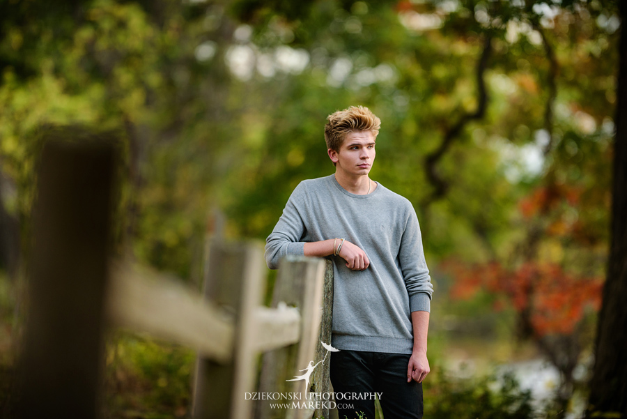 twins triplets senior photos photographer ideas everest michigan clarkston fall nature lake11 - Triplets Senior Session at Independence Oaks Park in Clarkston, Michigan - Conner, Nicholas and Ethan